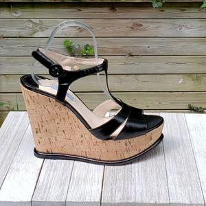 Prada Saffiano Cork Wedge T Strap Patent Sandals